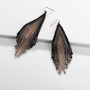 Boho Beaded Tassel Earrings, Black